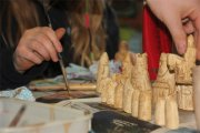 Arrochar Primary children making replica Lewis chessmen
