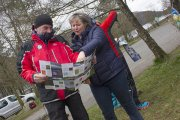 Councillor Shonny Paterson and Fiona Jackson checking out new walk leaflet