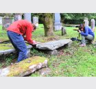 Kieran and Alice photographing Ballyhennan graveslab