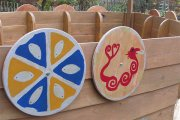 the children's shields added to the boat