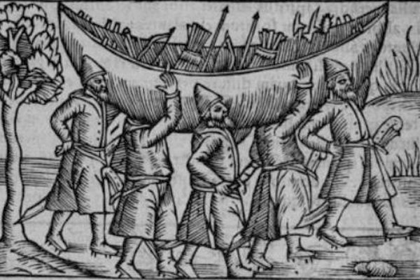 Woodcut of a Viking Portage